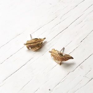 18K Gold Plated Leaf Studs Earrings Silver Posts